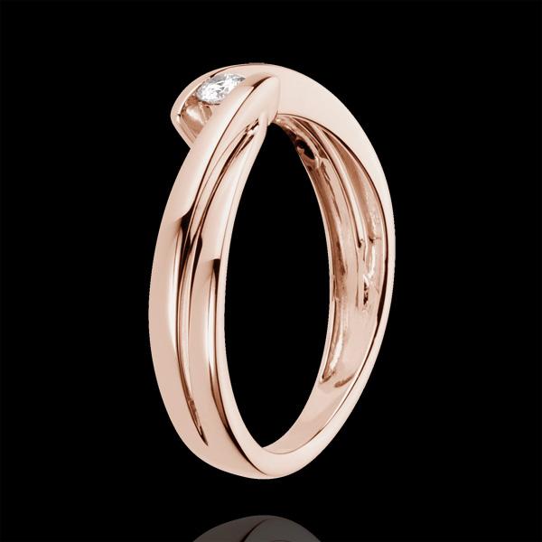 Pierścionek Ondine z różowego złota 18-karatowego z jednym diamentem - 0,07 karata