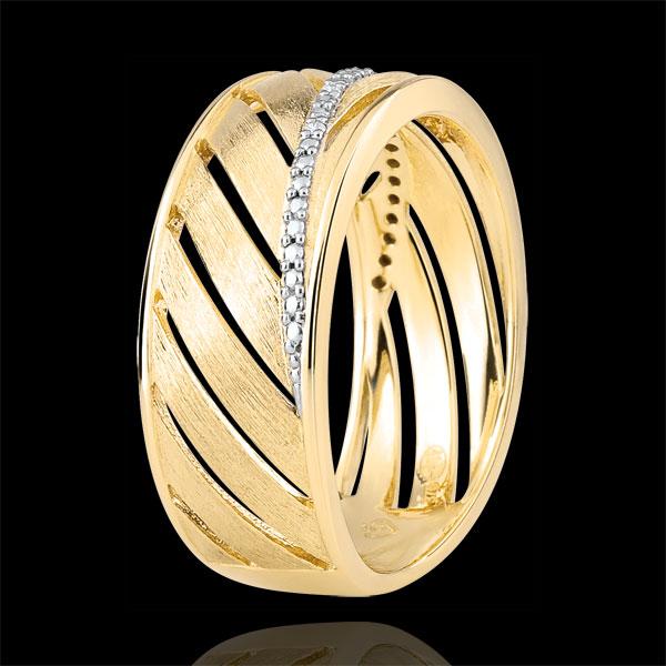 Pierścionek Palma - szczotkowane złoto żółte 9-karatowe i diamenty