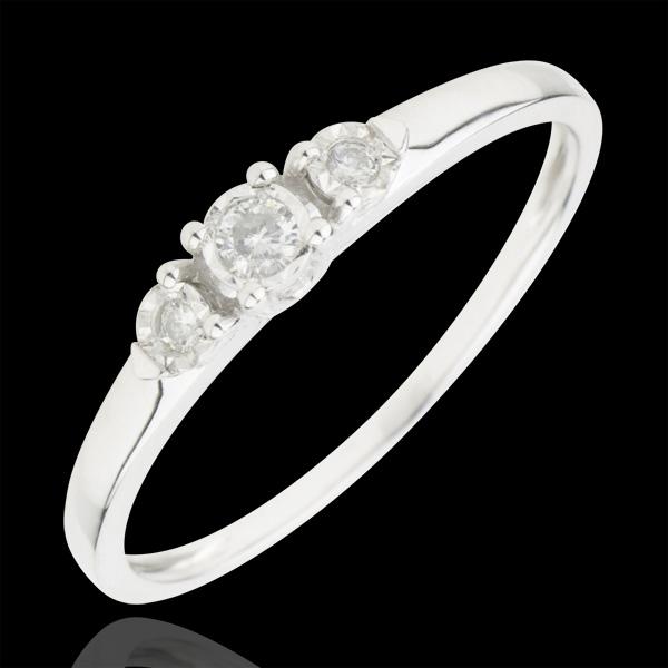 Pierścionek Pierwsza Gwiazdka z trzema diamentami - złoto białe 9-karatowe
