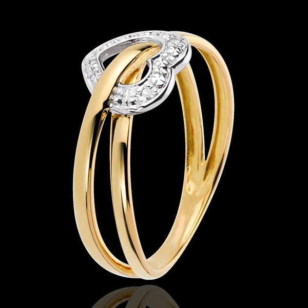 Pierścionek Planeta Miłości - złoto białe i złoto żółte 18-karatowe