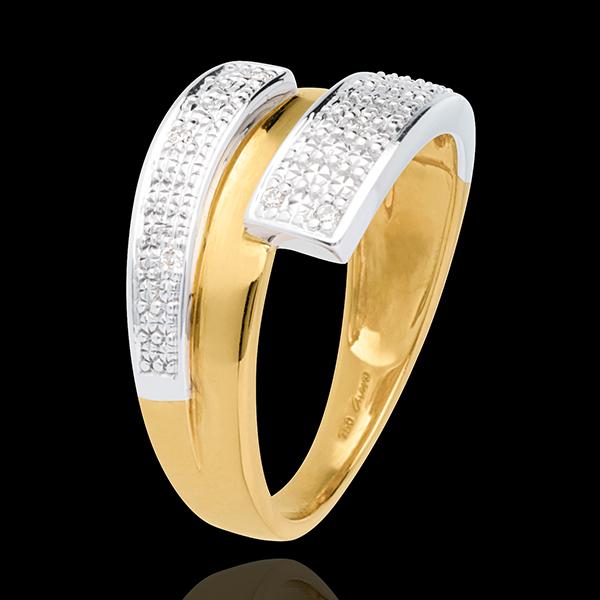 Pierścionek Podwójne Półkola wysadzany diamentami - złoto białe i złoto żółte 18-karatowe