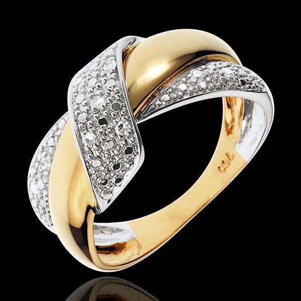 Pierścionek Podwójny Węzeł - złoto białe i złoto żółte 18-karatowe