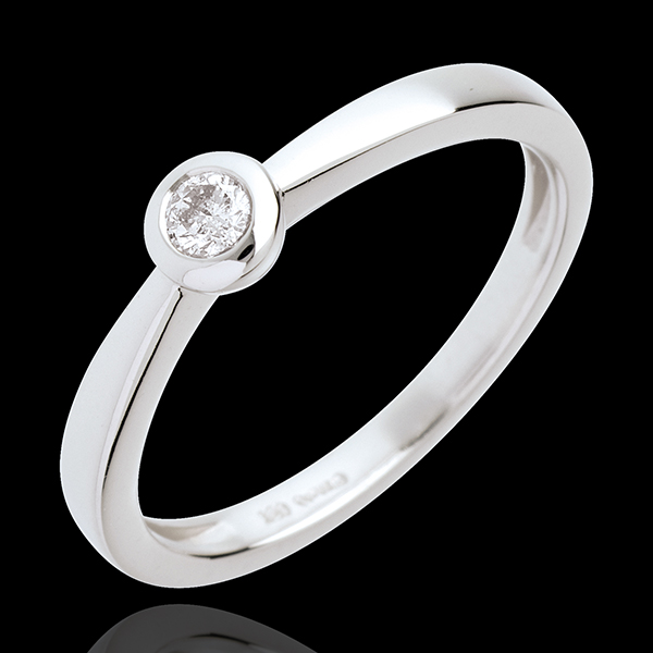 Pierścionek z pojedynczym diamentem w pełnej oprawie z białego złota 18-karatowego - 0,11 karata