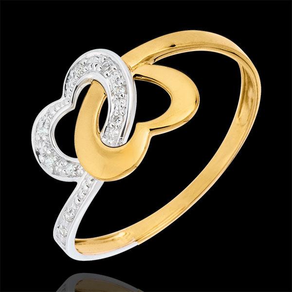 Pierścionek Połączone Serca z dwóch rodzajów złota - złoto białe i złoto żółte 9-karatowe