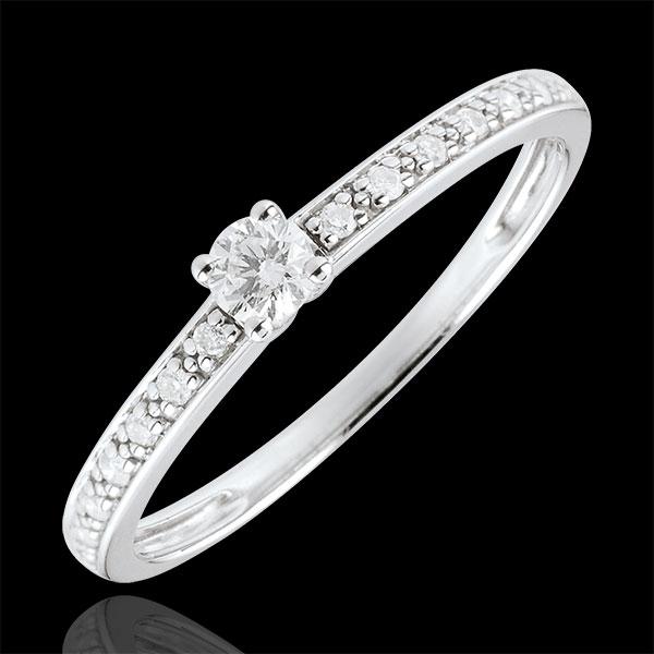 Pierścionek Północ z jednym diamentem - 0,09 karata - złoto białe 18-karatowe