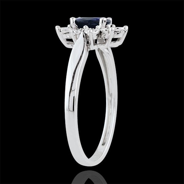 Pierścionek Ponadczasowa Szarotka - szafir i diamenty - złoto białe 18-karatowe