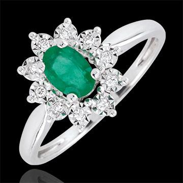 Pierścionek Ponadczasowa Szarotka - szmaragd i diamenty - złoto białe 18-karatowe