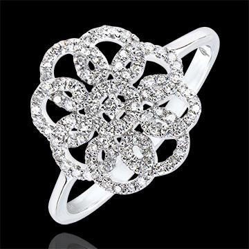 Pierścionek Przeznaczenie – Arabeska – białe złoto 9-karatowe z diamentami