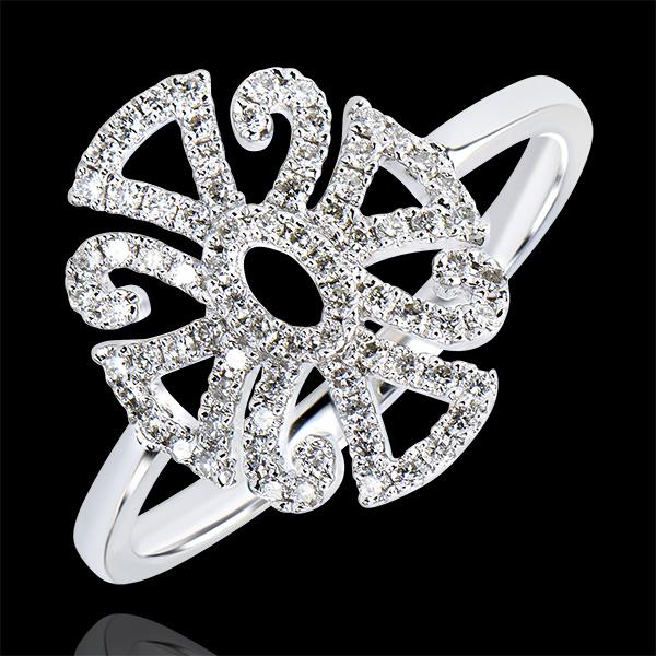 Pierścionek Przeznaczenie – Arabeska – wariacja – białe złoto 18-karatowe z diamentami