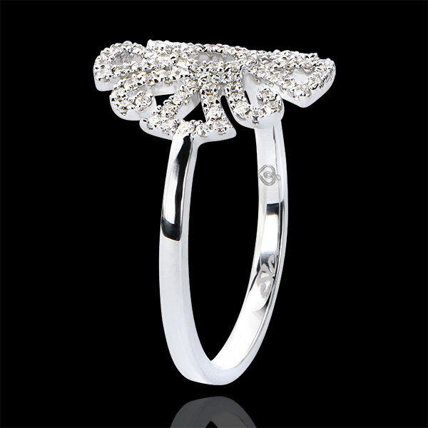 Pierścionek Przeznaczenie – Arabeska – wariacja – białe złoto 9-karatowe z diamentami