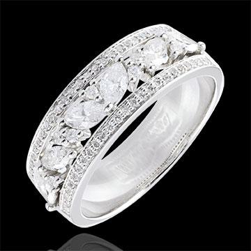 Pierścionek Przeznaczenie - Bizantyjskie - złoto białe 9-karatowe i diamenty