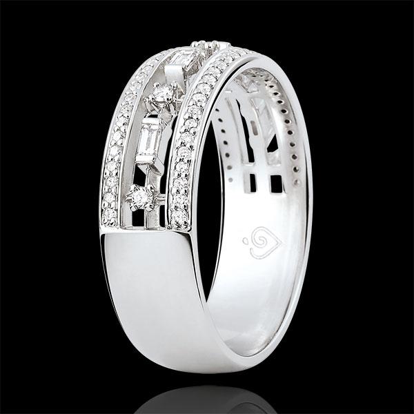 Pierścionek Przeznaczenie - Cesarzówna - 71 diamentów - złoto białe 9-karatowe