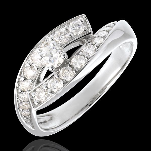 Pierścionek Przeznaczenie z jednym diamentem - Diwa - złoto białe 18-karatowe - duży model - 0,15 karata