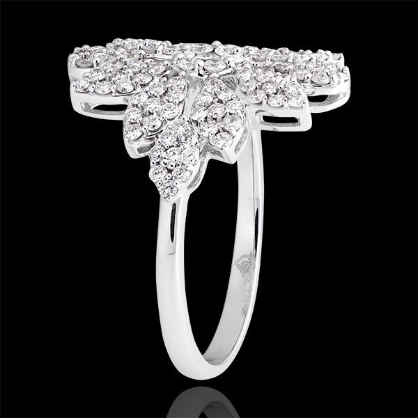 Pierścionek Przeznaczenie - Przebiśnieg - białe złoto 18-karatowe wysadzane diamentami