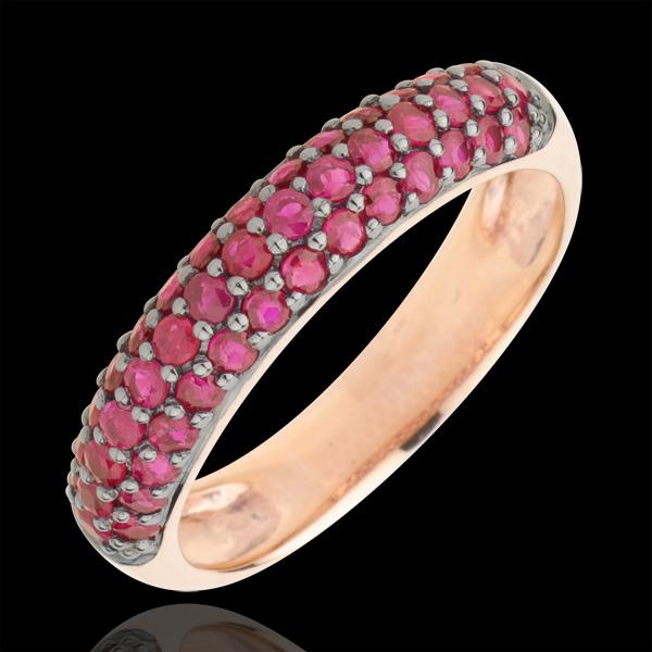 Pierścionek Rajski Ptak - trzy rzędy - złoto różowe 9-karatowe i rubiny