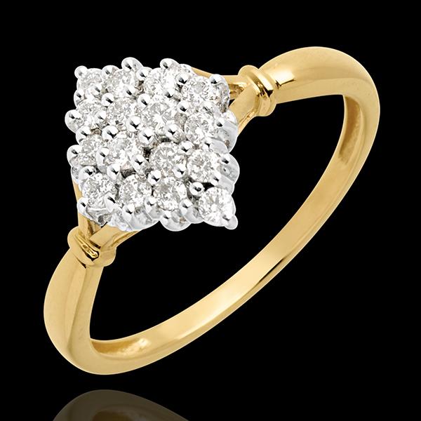 Pierścionek Romb wysadzany diamentami - 0,33 karata - 16 diamentów - złoto białe i złoto żółte 18-karatowe