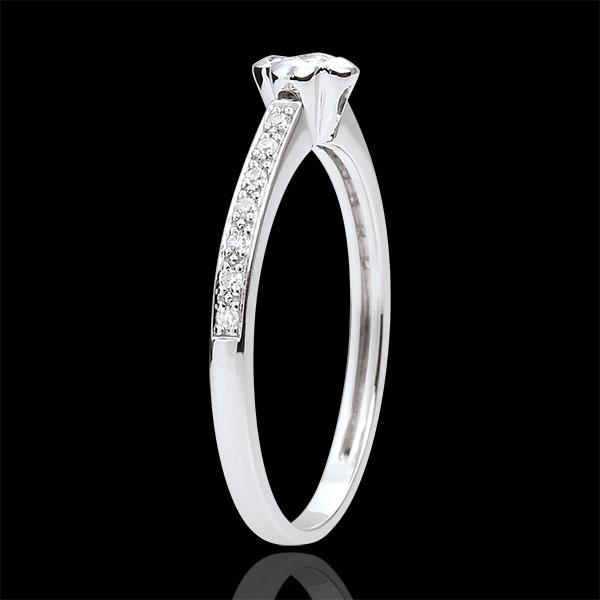 Pierścionek Rozkwit z jednym diamentem - Piwonia - 0,03 karata - złoto białe 18-karatowe