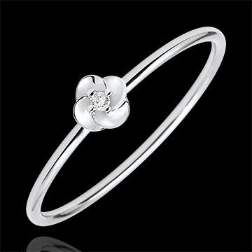 Pierścionek Rozkwit - Pierwsza Róża - Mały model - złoto białe 18-karatowe i diament