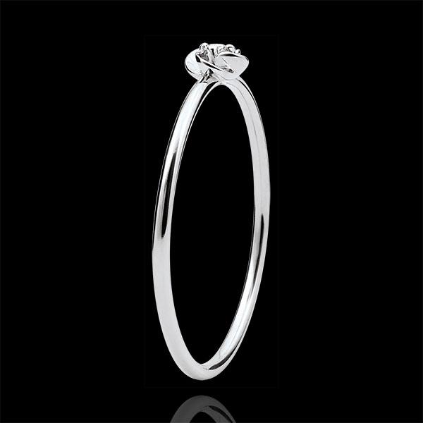 Pierścionek Rozkwit - Pierwsza Róża - Mały model - złoto białe 9-karatowe i diament