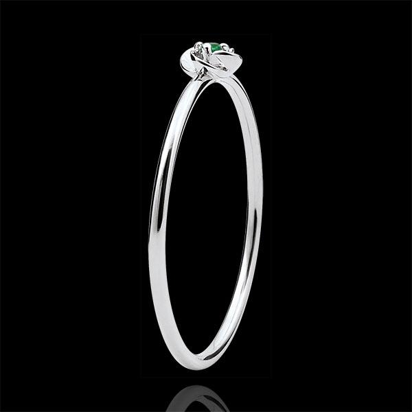Pierścionek Rozkwit - Pierwsza Róża - Mały model - złoto białe 9-karatowe i szmaragd