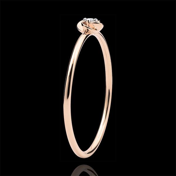 Pierścionek Rozkwit - Pierwsza Róża - Mały model - złoto różowe 18-karatowe i diament
