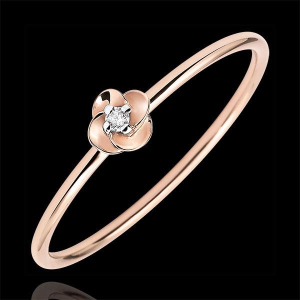 Pierścionek Rozkwit - Pierwsza Róża - Mały model - złoto różowe 9-karatowe i diament