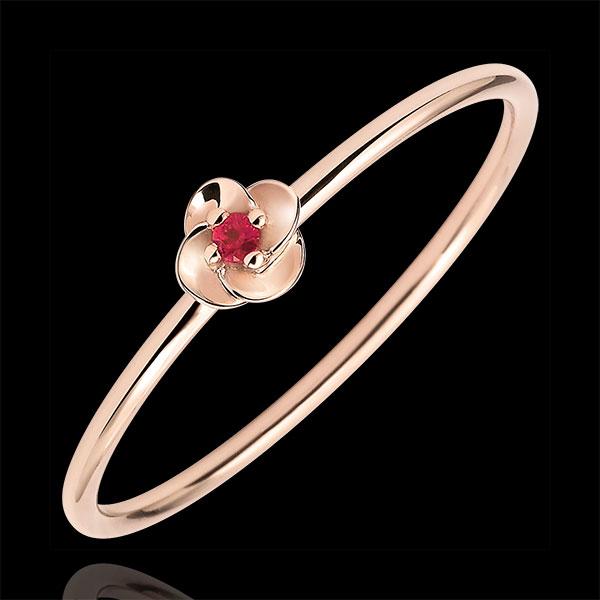 Pierścionek Rozkwit - Pierwsza Róża - Mały model - złoto różowe 9-karatowe i rubiny