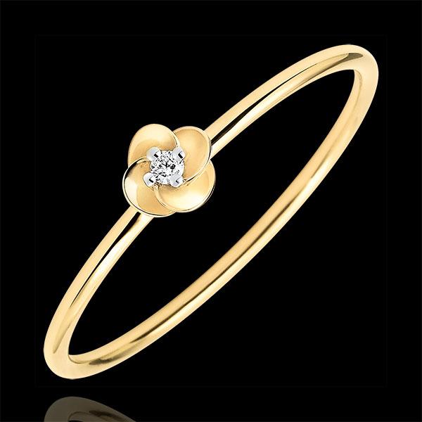 Pierścionek Rozkwit - Pierwsza Róża - Mały model - złoto żółte 18-karatowe i diament