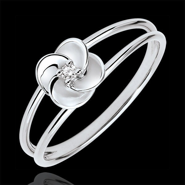 Pierścionek Rozkwit - Pierwsza Róża - złoto białe 9-karatowe i diament