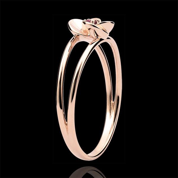 Pierścionek Rozkwit - Pierwsza Róża - złoto różowe 9-karatowe i rubiny