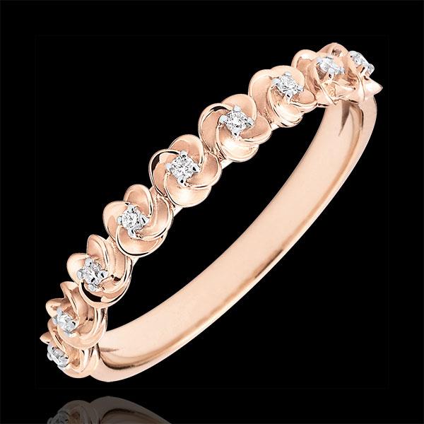 Pierścionek Rozkwit - Różana Korona - Mały model - złoto różowe 9-karatowe i diamenty