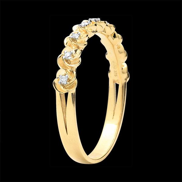 Pierścionek Rozkwit - Różana Korona - Mały model - złoto żółte 9-karatowe i diamenty