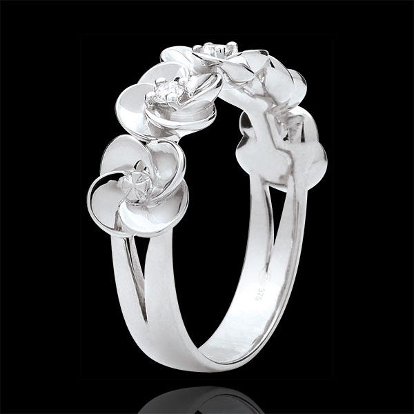 Pierścionek Rozkwit - Różana Korona - złoto białe 9-karatowe i diamenty