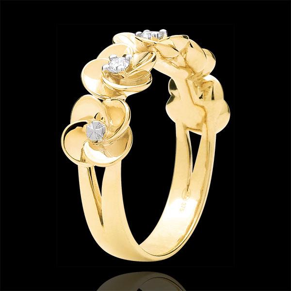 Pierścionek Rozkwit - Różana Korona - złoto żółte 18-karatowe i diamenty