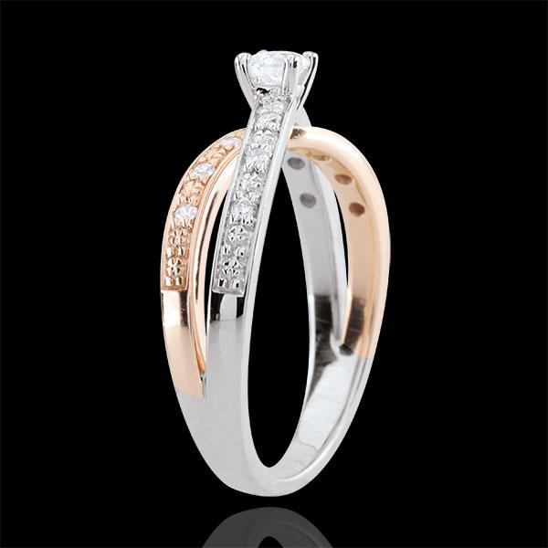 Pierścionek Saturn Duo z diamentem środkowym 0,15 karata - złoto białe i złoto różowe 9-karatowe