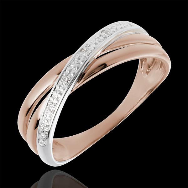 Pierścionek Saturn Duo wariacja - 4 diamenty - złoto białe i złoto różowe 18-karatowe