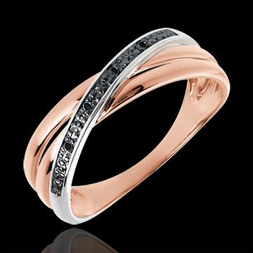 Pierścionek Saturn Duo wariacja - złoto białe i różowe 18-karatowe oraz czarne diamenty