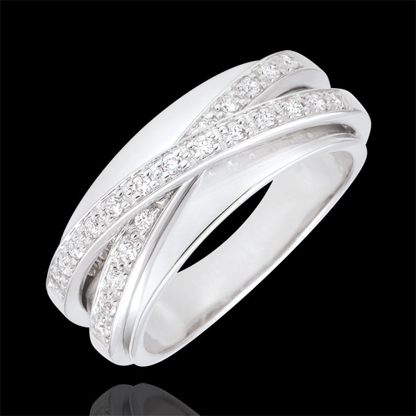 Pierścionek Saturn Lustro - złoto białe 9-karatowe - 23 diamenty