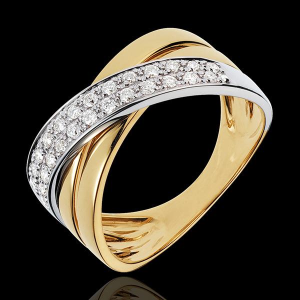 Pierścionek Saturn, szeroki - 26 diamentów 0,26 karata - złoto białe i złoto żółte 18-karatowe