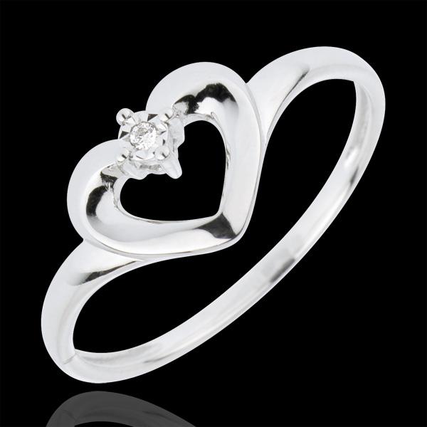 Pierścionek Śliczne Serce - złoto białe 18-karatowe