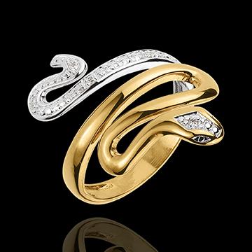Pierścionek Spacer w Wyobraźni - Drogocenne Zagrożenie - dwa rodzaje złota i diamenty - złoto białe i złoto żółte 18-karatowe