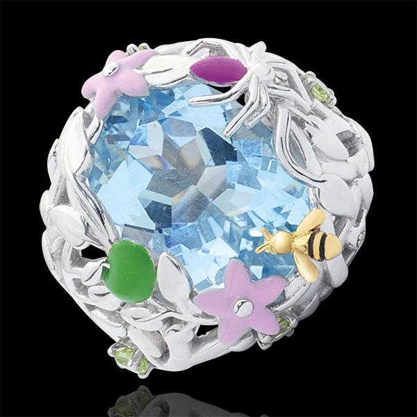 Pierścionek Spacer w Wyobraźni - Niebieski Raj - Srebro, diamenty i kamienie ozdobne