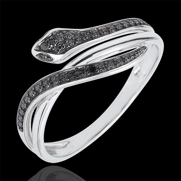 Pierścionek Spacer w Wyobraźni - Olśniewający wąż - złoto białe 9-karatowe i czarne diamenty