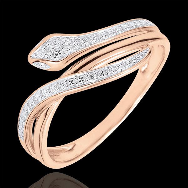 Pierścionek Spacer w Wyobraźni - Olśniewający wąż - złoto różowe 18-karatowe i diamenty