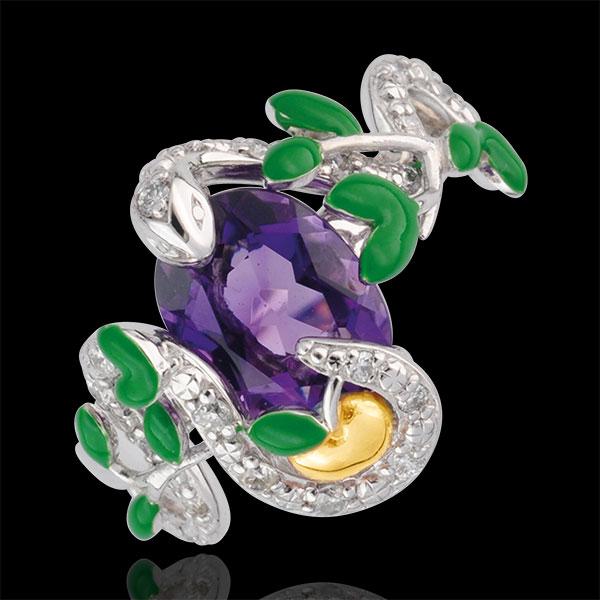 Pierścionek Spacer w Wyobraźni - Wąż z Raju - Srebro, diamenty i kamienie ozdobne