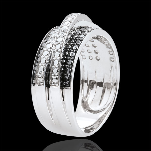Pierścionek Światłocień - Cień - złoto białe 9-karatowe i czarne diamenty