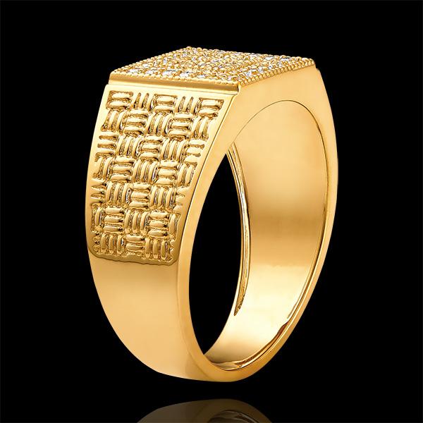 Pierścionek Światłocień - Pleciony sygnet - 18 karatowe żółte złoto i diamenty
