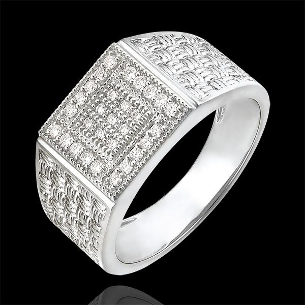 Pierścionek Światłocień - Pleciony sygnet - 9 karatowe białe złoto i diamenty