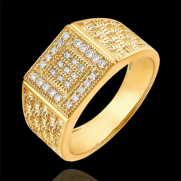 Pierścionek Światłocień - Pleciony sygnet - 9 karatowe żółte złoto i diamenty