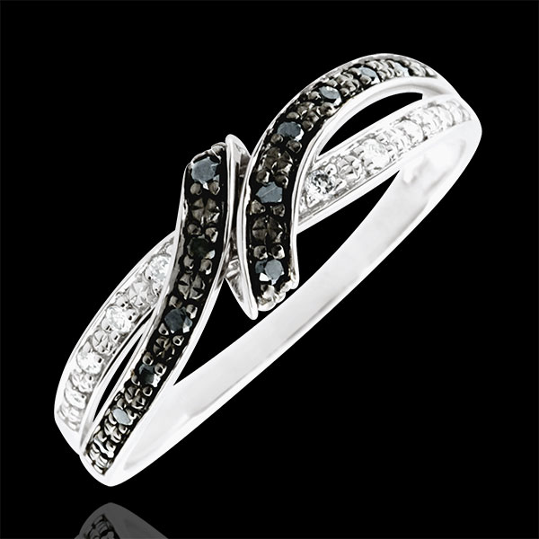 Pierścionek Światłocień - Randka - czarne diamenty - złoto białe 18-karatowe